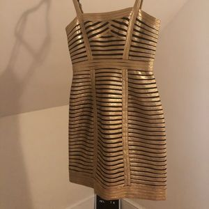 BCBG gold bandage dress